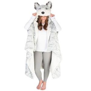 Husky Hooded Plush Wrap Blanket